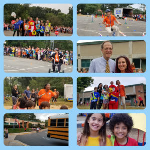 Collage of wlak and bike to school day pictures