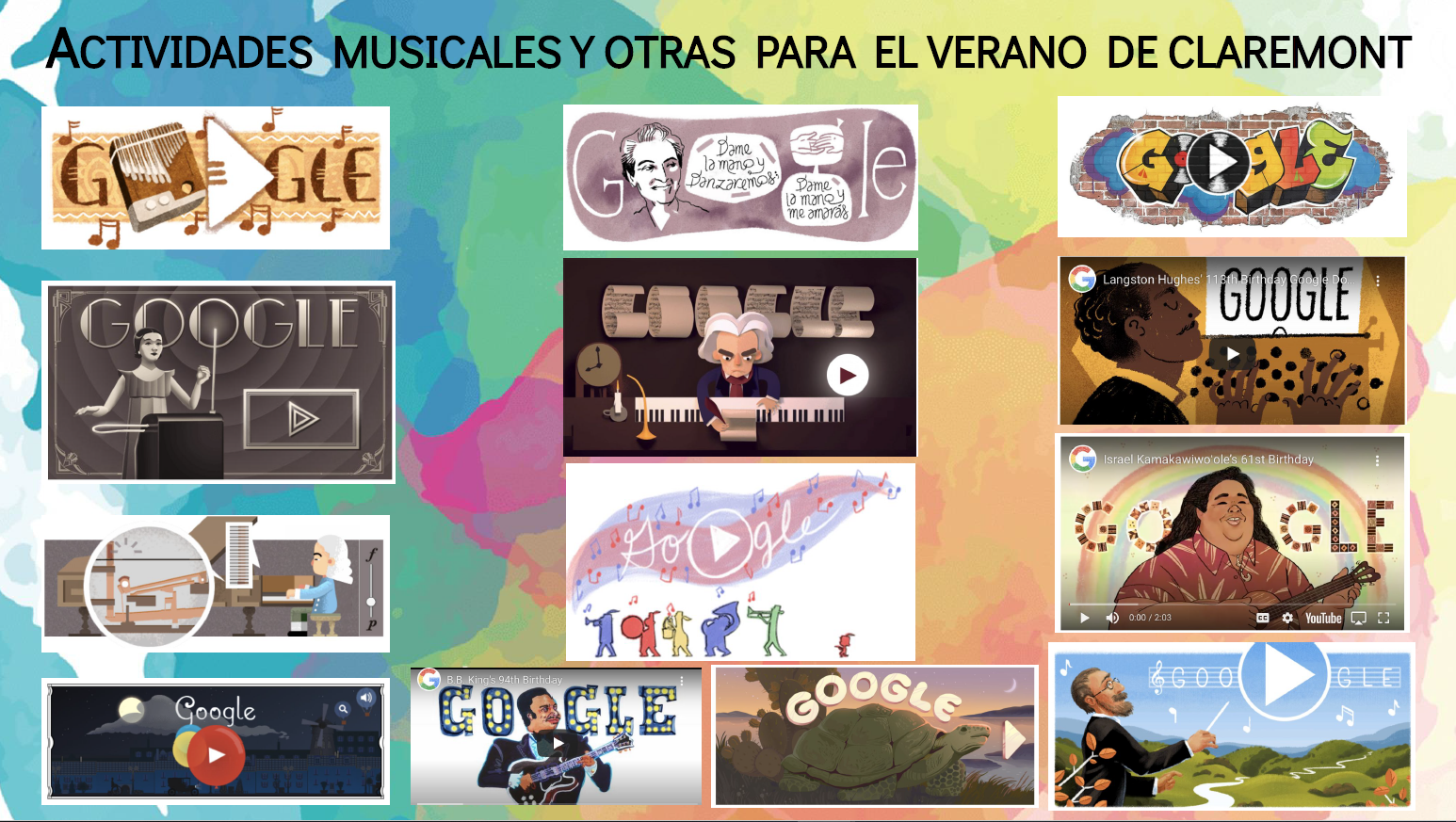 screen captures of Google music doodles against a colorful background