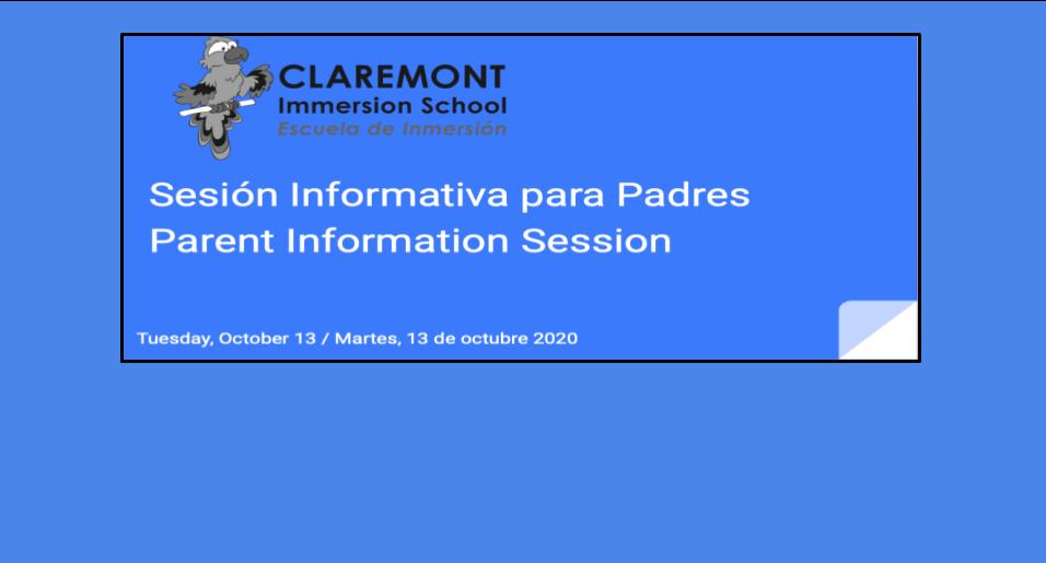 Sesión informativa para padres ||  Parent information session