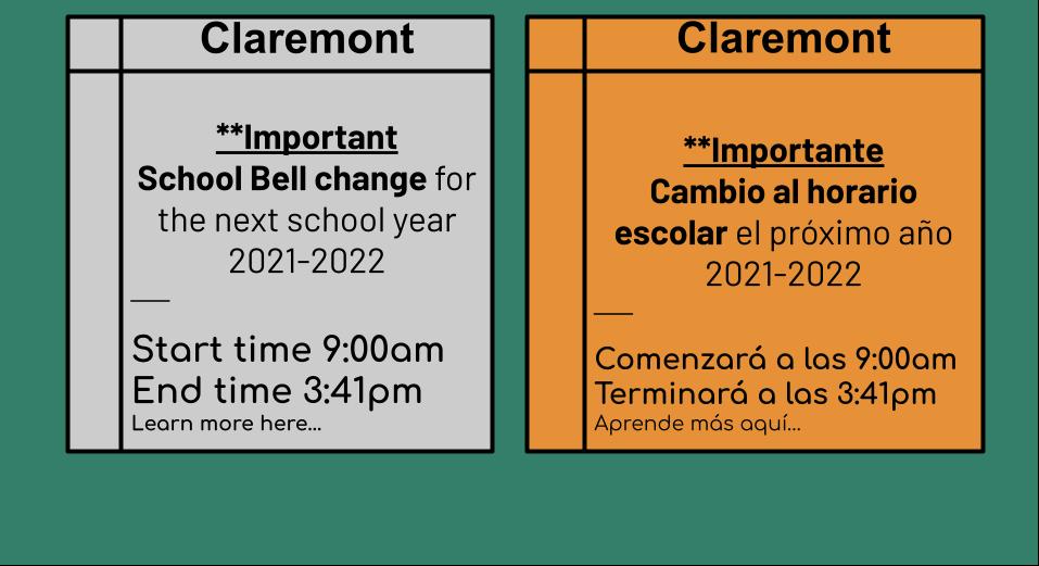 School Bell Change 21/22 || Cambio al horario escolar 21/22