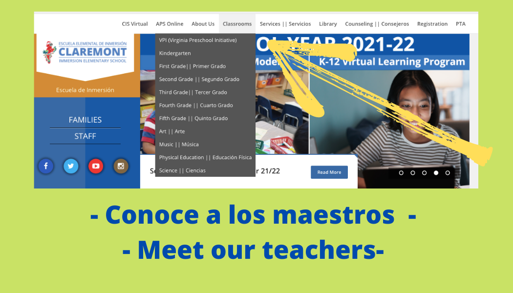 Conoce a los maestros with an arrow pointing to the website menu