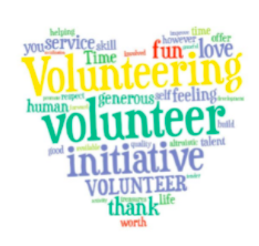 heart with volunteer words